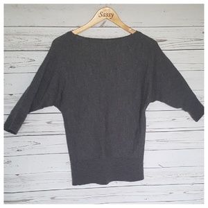 Ann Taylor Gray Oversized Dolman Sweater Top MD